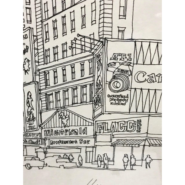 """Glass """"Times Square, NYC 1978"""" Signed and Numbered Line Drawing by Richard Welling For Sale - Image 7 of 10"""