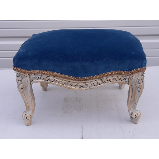 Textile Antique French Velvet Footstool French Louis XVI Painted Footstool French Blue Velvet Carved Footstool French Paris Apartment Footstool For Sale - Image 7 of 8