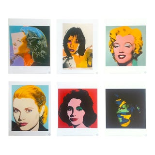 "Andy Warhol Estate Rare Vintage 1989 "" Familiar Faces "" Portfolio Collector's Pop Art Lithograph Prints - Set of 6 For Sale"