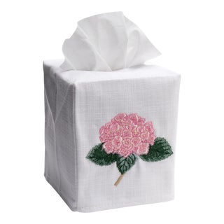 Light Pink Hydrangea Too Tissue Box Cover in White Linen & Cotton, Embroidered For Sale
