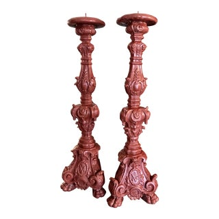 Vintage Red Candleholders - a Pair For Sale