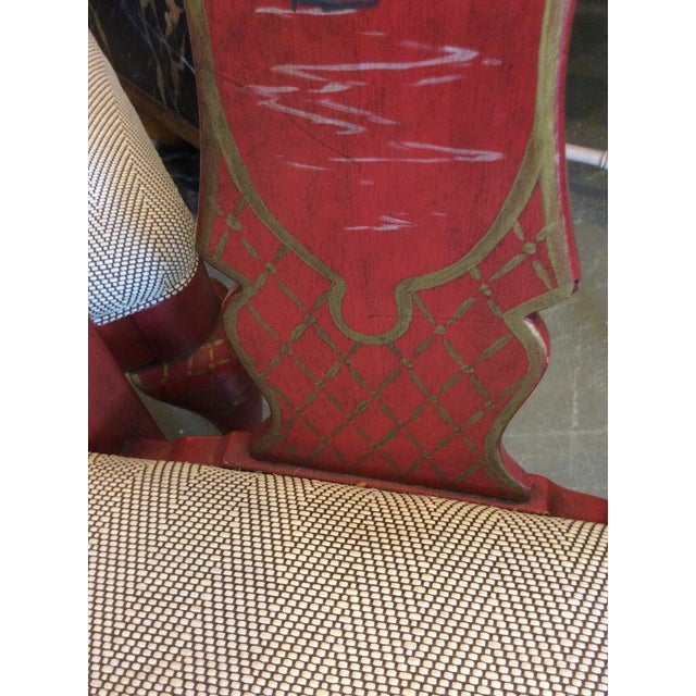 Wood Red Chinoiserie Dining Chair - Set of 4 For Sale - Image 7 of 13