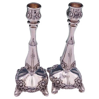 Chrysanthemum by Tiffany & Co. Sterling Silver Candlestick Pair #16580 For Sale