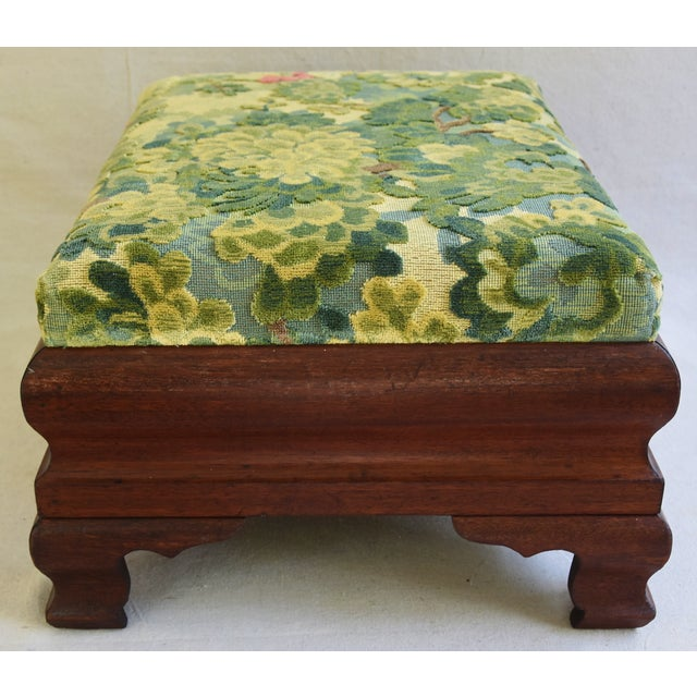 Early Carved 1900s Foot Stool w/ Scalamandre Marly Velvet Fabric - Image 6 of 11