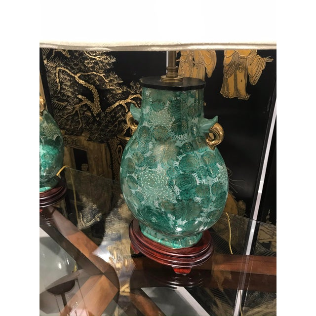 Chinoiserie Chinoiserie Green Lamps - a Pair For Sale - Image 3 of 7