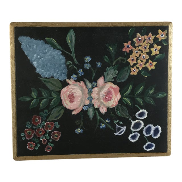 Florence Italy Hand Painted Floral Gold Leaf Box For Sale