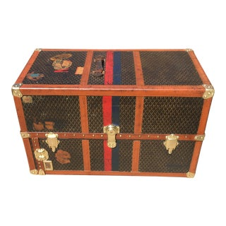 1920s French Goyard Monogram Wardrobe Trunk For Sale