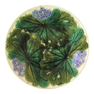 1890 Antique Clairefontaine Majolica Purple Flowers Plate For Sale