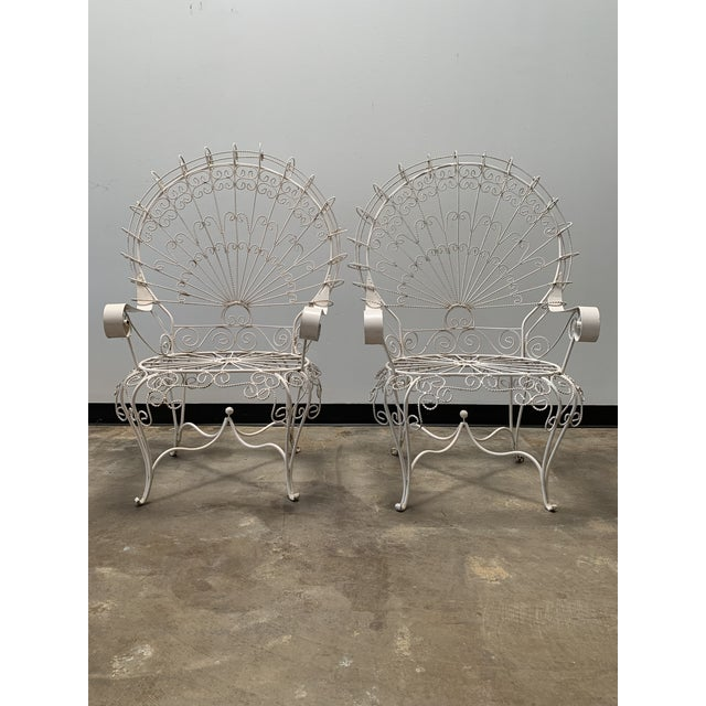 Iron 1960s Vintage Salterini Iron Peacock Chairs- a Pair For Sale - Image 7 of 7