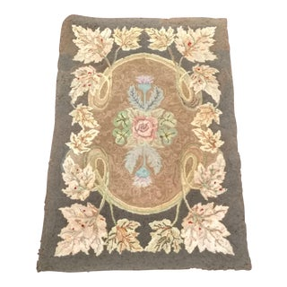 Early American Handmade Hooked Rug - 2′5″ × 3′7″ For Sale