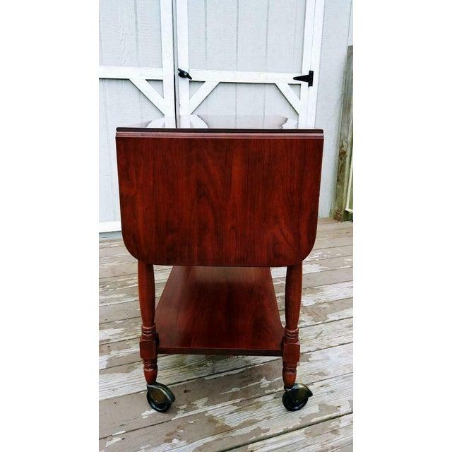 1950s Traditional Henkel Harris Solid Wild Black Cherry Wood Drop Leaf Rolling Server Cart For Sale - Image 12 of 13