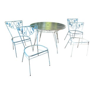 1950s Iron Dogwood Flower Patio Table & 4 Chairs For Sale