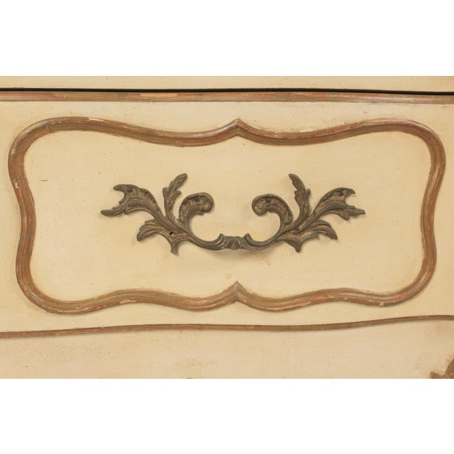 White Louis XV Style Painted and Partial Gilt Chest of Drawers For Sale - Image 8 of 13