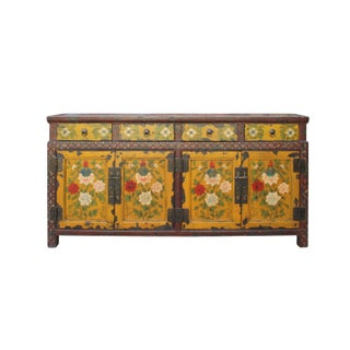 Chinese Distressed Yellow Red Floral Graphic Low Console Table Cabinet For Sale