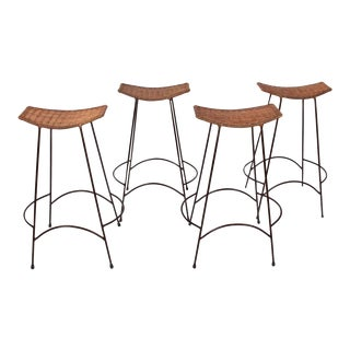 Arthur Umanoff Style Steel & Rattan Stacking Bar Stools - Set of 4 For Sale