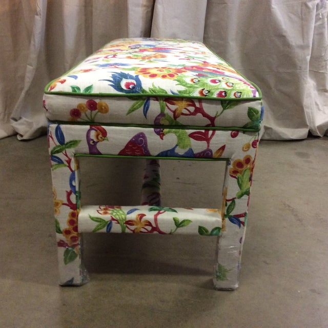 Upholstered Bench in Peacock Print Linen - Image 6 of 7