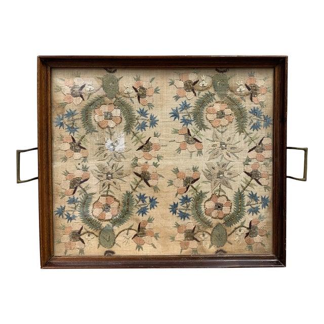 Vintage Glass Framed Textile Tray For Sale