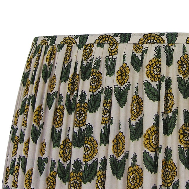 New, Made to Order, Floral Block Print Fabric, Small Pleated/Gathered Lamp Shade - Image 4 of 5