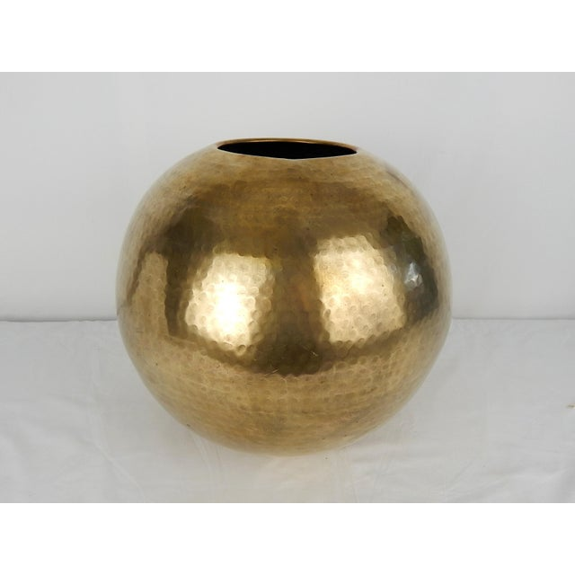 1970s C. 1970s Hammered Brass Vase For Sale - Image 5 of 9