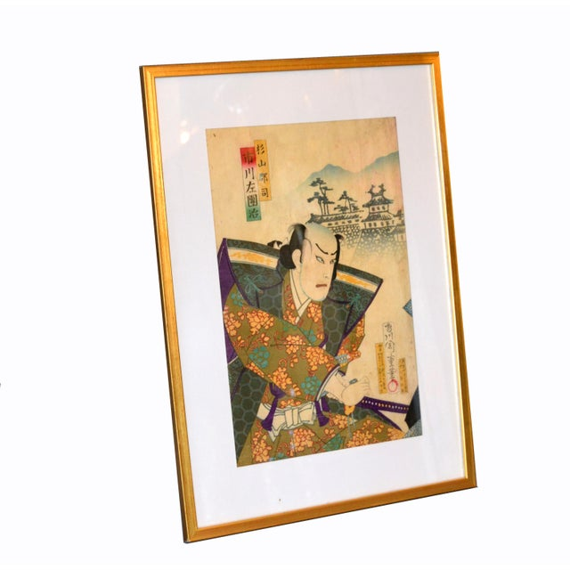 Asian Chikashige Morikawa Japanese Woodblock Print on Parchment Paper in Gilt Frame C. 1880 For Sale - Image 3 of 10