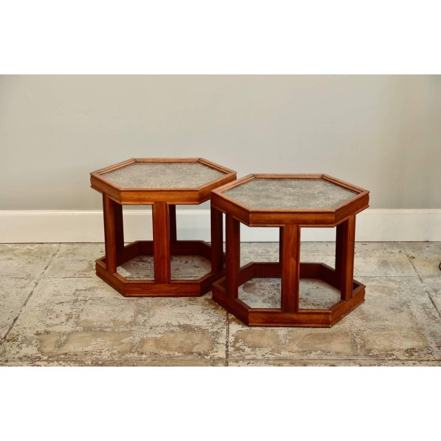 Brown John Keal for Brown Saltman Hexagonal Side Tables - a Pair For Sale - Image 8 of 8