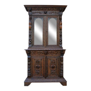 Antique French Oak 19th Century Black Forest Gothic Renaissance Hunt Cabinet Bookcase For Sale