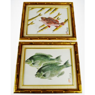 Vintage Framed Asian Fish Prints - a Pair Preview