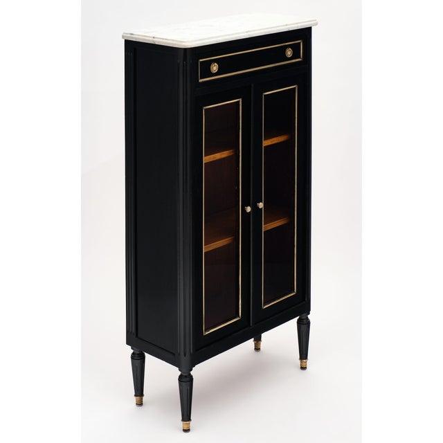 French Petite Louis XVI Style Ebonized Mahogany Bookcase For Sale - Image 3 of 10