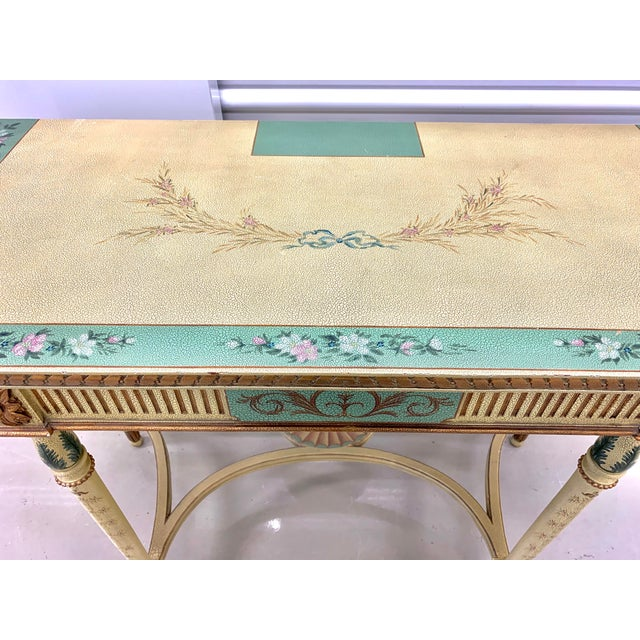 Maitland - Smith French Country Hand Painted Maitland Smith Console Table For Sale - Image 4 of 11