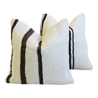 "Organic Hemp & Cotton Turkish Kilim Feather/Down Pillows 18"" Square - Pair For Sale"
