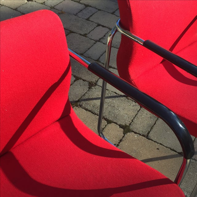 Upholstered Chrome Side Chairs- A Pair - Image 6 of 6