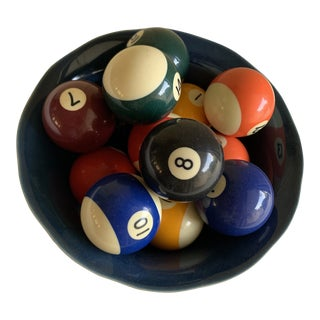 Bowl of Billiard Balls, Pool Balls, Set of Fourteen For Sale