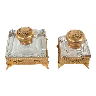 Early 20th Century ly Gilt Brass Framed Footed Glass Inkwells - a Pair For Sale