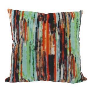 Custom Rainbow-Striped Multi-Colored Velvet Pillow For Sale