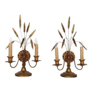 Antique Italian Wheat Sheaf Gold Leaf Buffet Lamps - a Pair- Mid Century Modern Hollywood Regency Boho Chic Tropical Coastal Palm Beach Tree
