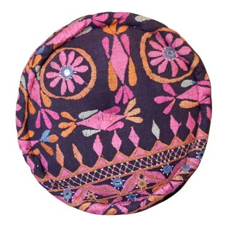 Tribal Embroidered Mathuravati Pouf For Sale