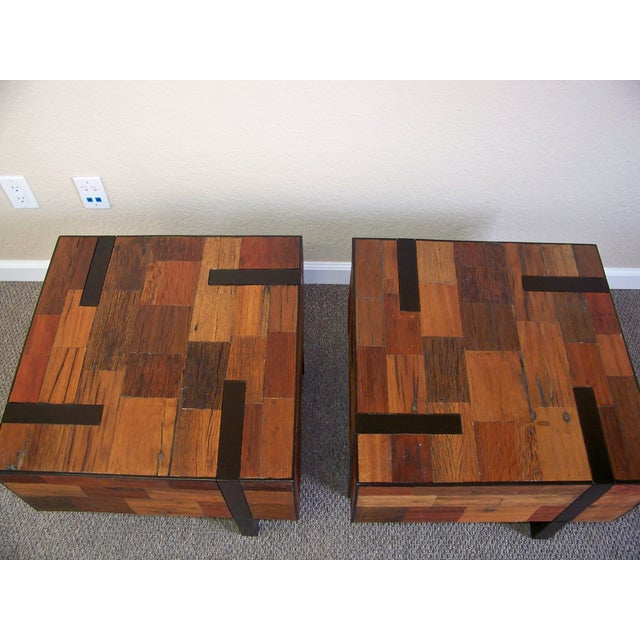 Reclaimed Wood End Tables - A Pair - Image 3 of 6