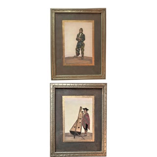Peruvian Musicians Miniature Watercolor/Gouache Paintings in Hand Carved Frames - a Pair For Sale