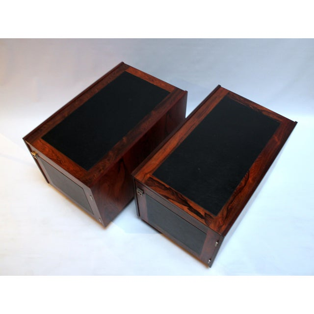 Danish Modern 1960s Bornholm Danish Rosewood & Leather Storage Side Tables- a Pair For Sale - Image 3 of 11
