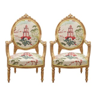 Kravet Upholstered Antique French Oval Back Chairs in Gold - a Pair