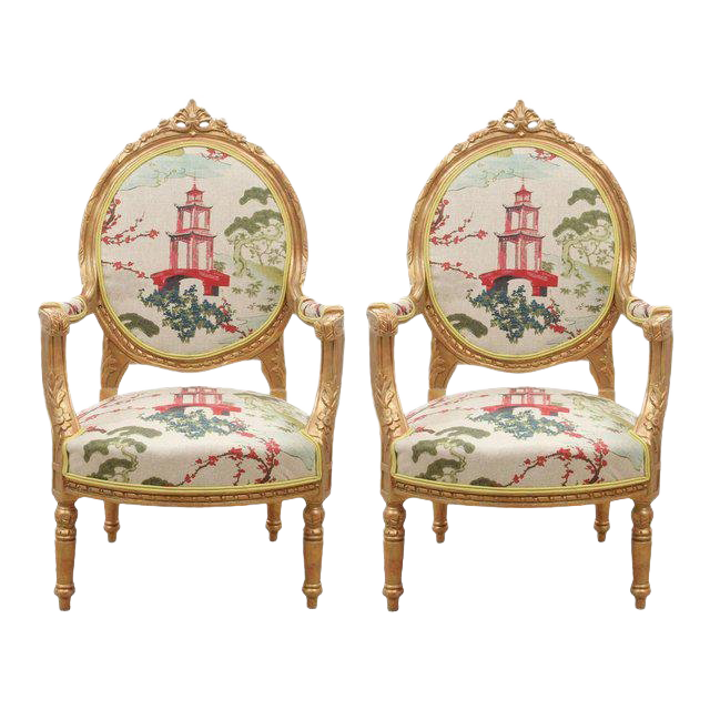 Kravet Upholstered Antique French Oval Back Chairs In Gold   A Pair For Sale