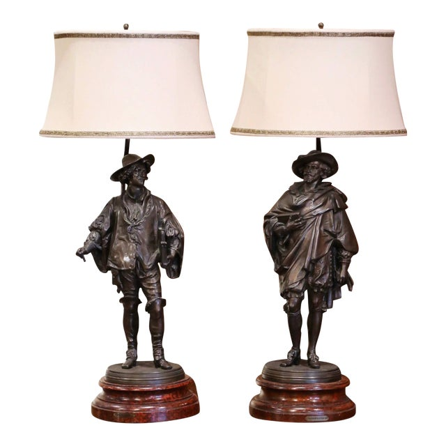 19th Century French Spelter Renaissance Figures Made Into Table Lamps - a Pair For Sale