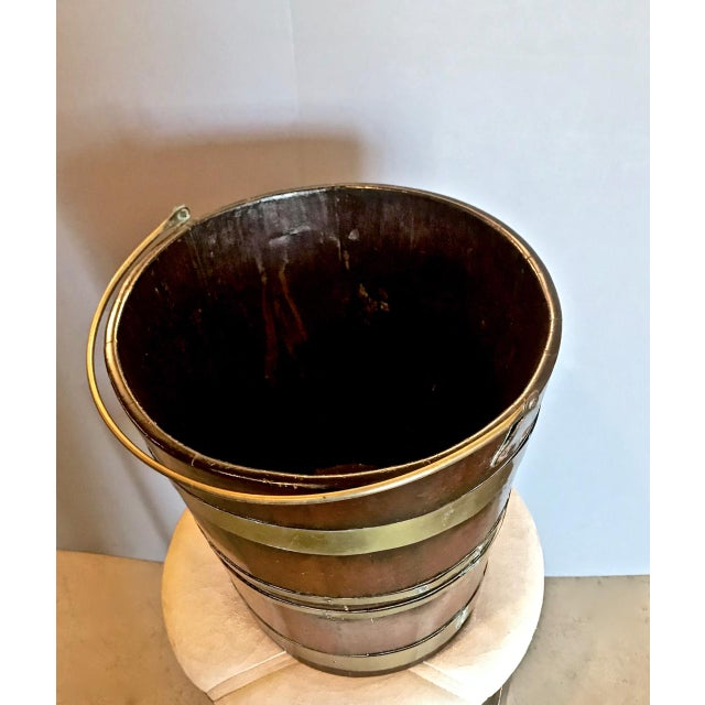 English Traditional Antique English Mahogany Brass Bound Peat Bucket For Sale - Image 3 of 8