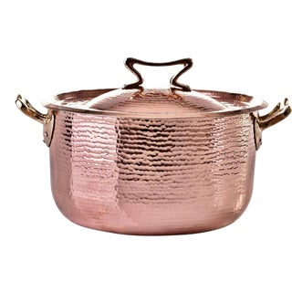 Amoretti Brothers Handmade 10.4 Qt Copper Dutch Oven Standard For Sale