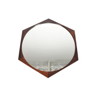 Danish Modern Rosewood Hexagon Mirror For Sale