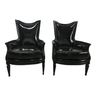 Late 20th Century Vintage Black Patent Chairs- A Pair For Sale