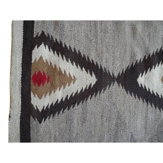 1940s Modern Native American Navajo Handwoven Wool Rug With Natural Fibers Preview