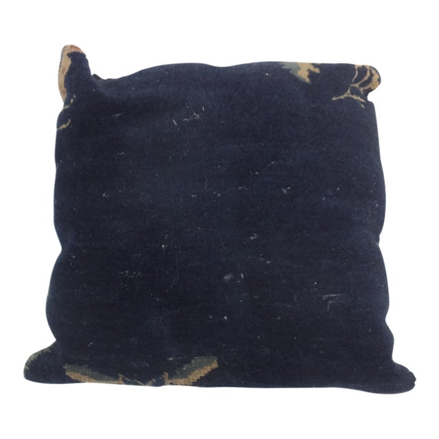 "Modern Chinese 17x17"" Leon Banilivi Navy Blue Wool Pillow For Sale"