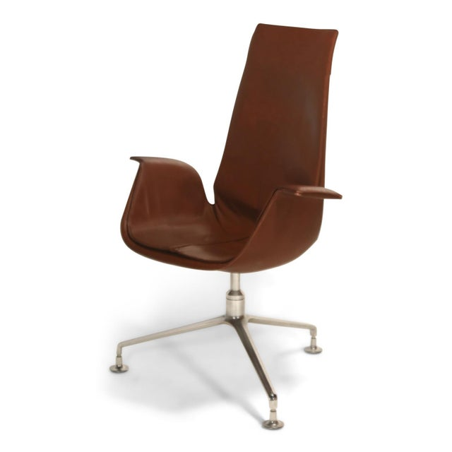 High back (executive) version of the Model FK 6725, leather 'Bird' chair, also commonly referred to as the 'Tulip' chair,...