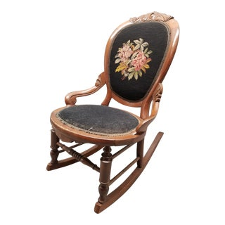 1930s Traditional Needlepoint Ladies Slipper Rocking Chair For Sale
